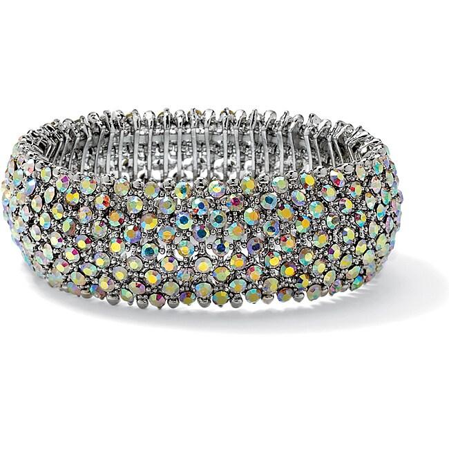 PalmBeach Silvertone AB Crystal Stretch Bracelet Bold Fashion