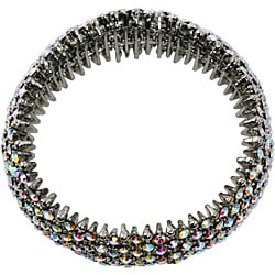 PalmBeach Silvertone AB Crystal Stretch Bracelet Bold Fashion - Thumbnail 1