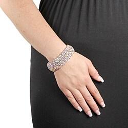 PalmBeach Silvertone AB Crystal Stretch Bracelet Bold Fashion - Thumbnail 2