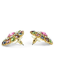 Lillith Star Goldtone Round Multi-colored Crystal Stud Earrings - Thumbnail 1