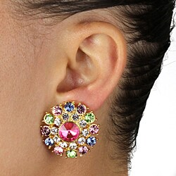 Lillith Star Goldtone Round Multi-colored Crystal Stud Earrings - Thumbnail 2