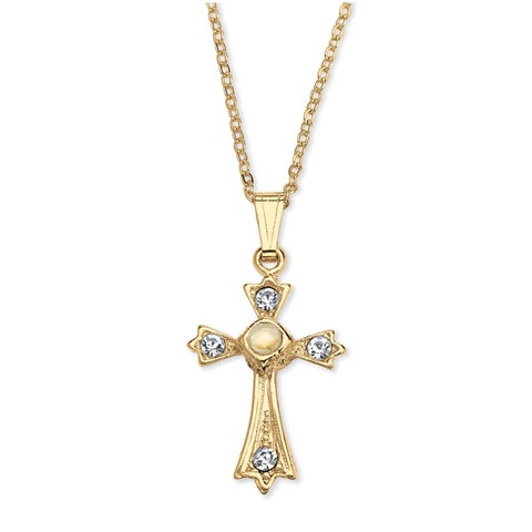 Gold Tone Lord's Prayer Cross Pendant (18mm) Round Crystal