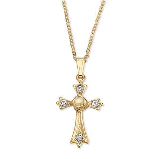 Yellow Goldtone Lord's Prayer Crystal Cross Pendant Necklace