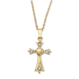 Yellow Goldtone Lord's Prayer Crystal Cross Pendant Necklace|https://ak1.ostkcdn.com/images/products/6131558/P13794613.jpg?_ostk_perf_=percv&impolicy=medium