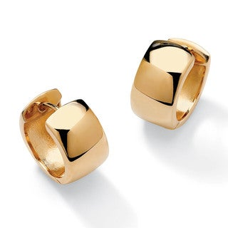 PalmBeach 18k Gold over Sterling Silver Huggie-Style Hoop Lever-Back Earrings Tailored