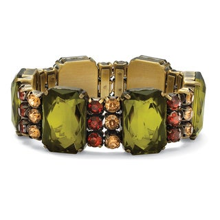 "PalmBeach Olive, Champagne and Amber Crystal Stretch Bracelet in Antiqued Yellow Gold Tone 7"" Bold Fashion"