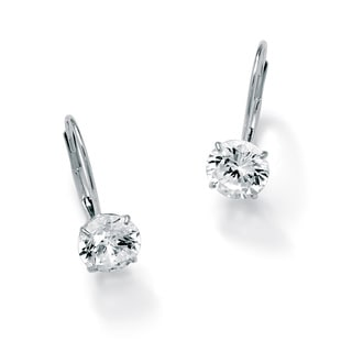 PalmBeach 3 TCW Round Cubic Zirconia 10k White Gold Drop Earrings Classic CZ