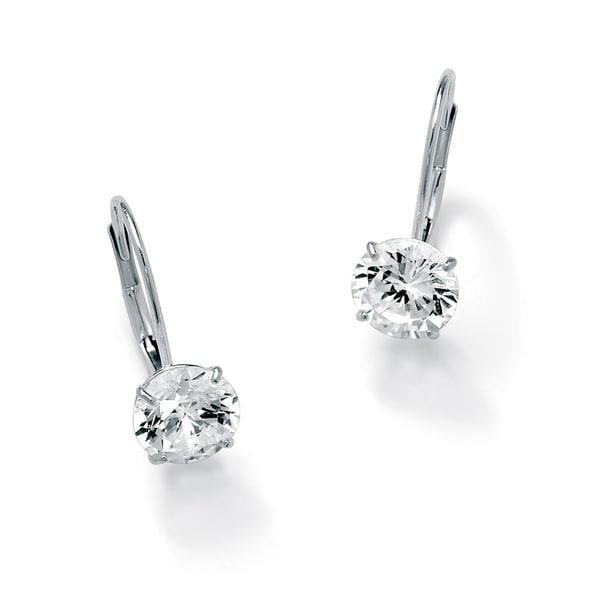 3 Tcw Round Cubic Zirconia 10k White Gold Drop Earrings Clic Cz