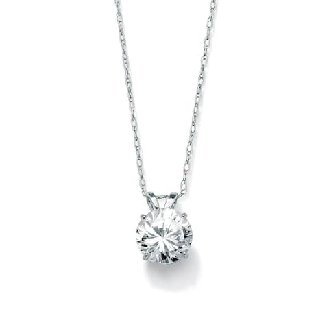 1.25 TCW Round Cubic Zirconia Solitaire Pendant Necklace in 10k White Gold Classic CZ