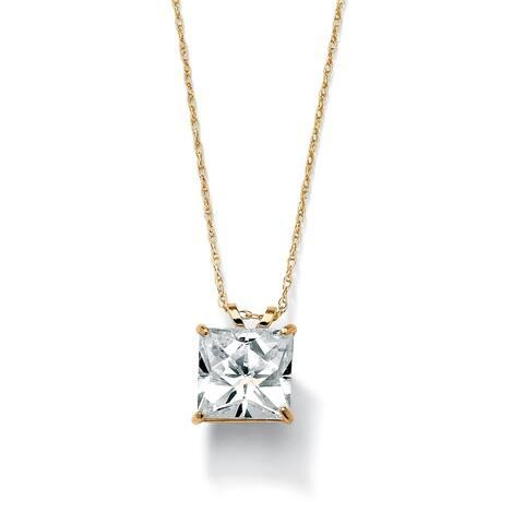 2.12 TCW Princess-Cut Cubic Zirconia Solitaire Pendant Necklace in 10k Gold Classic CZ