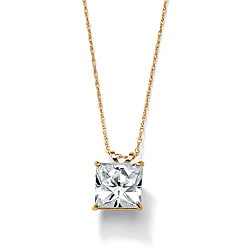 PalmBeach 2.12 TCW Princess-Cut Cubic Zirconia Solitaire Pendant Necklace in 10k Gold Classic CZ