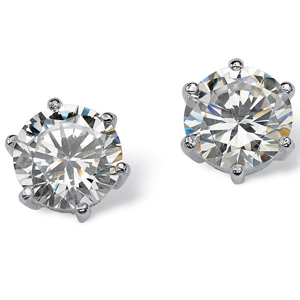 5.00 TCW Round Cubic Zirconia Sterling Silver Stud Earrings Classic CZ