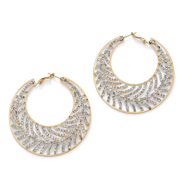 Crystal Leaf Hoop Earrings in Yellow Gold Tone Bold Fashion