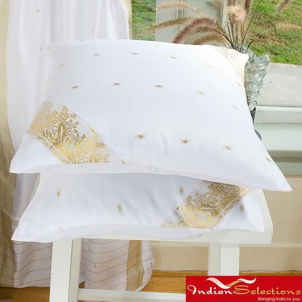 Set of Two Sari Fabric White Decorative Pillow Covers (India)