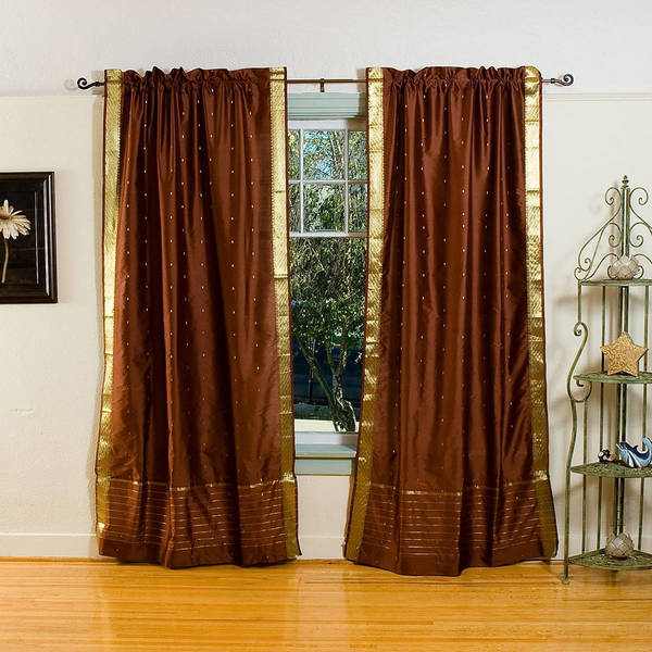 Handmade Sheer Sari 84-inch Brown Rod Pocket Curtain Panel Pair (India)