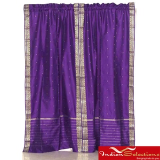 Sheer Sari 84-inch Purple Rod Pocket Curtain Panel Pair , Handmade in India