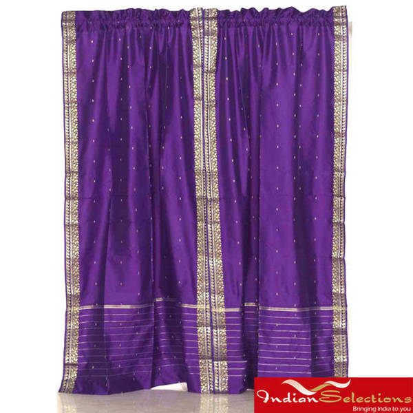 Sheer Sari 84-inch Purple Rod Pocket Curtain Panel Pair  , Handmade in India