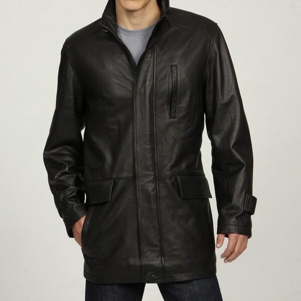 Izod Men&39s Black Leather 3/4-length Car Coat - Free Shipping Today