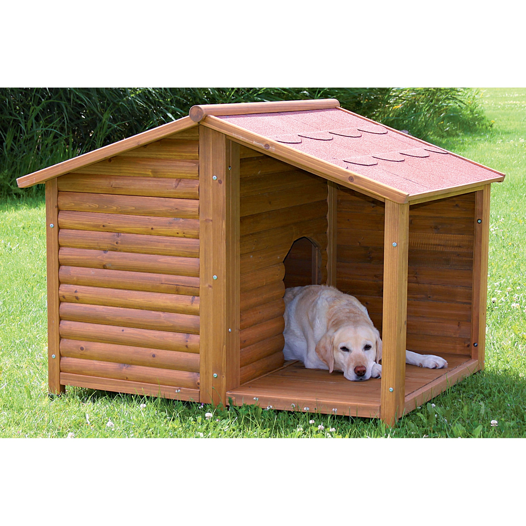 Trixie Rustic Dog House (L) (large, glazed pine, covered ...