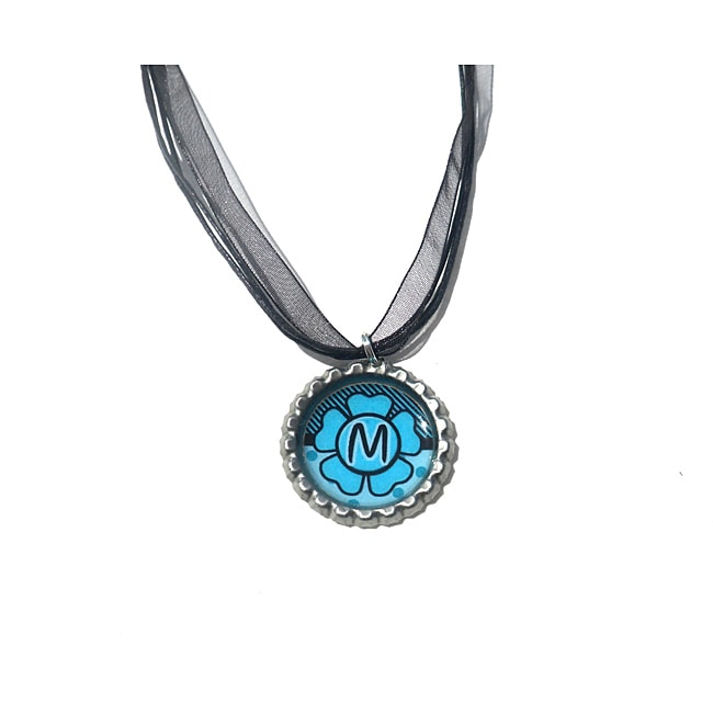 Blue Flower Monogram Bottle Cap Necklace