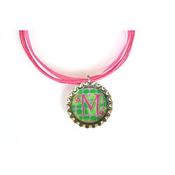 Pink and Green Monogram Bottle Cap Necklace