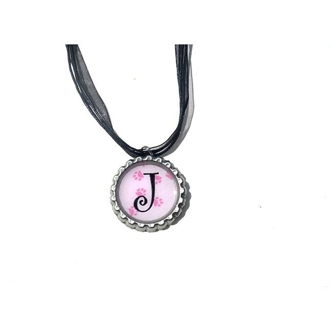 Pink Paw Print Monogram Bottle Cap Necklace