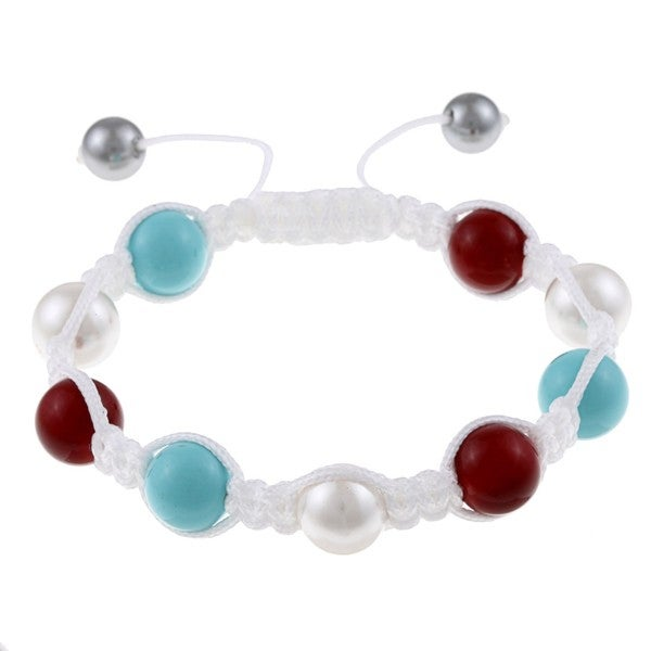 La Preciosa Created Coral, Turquoise and Shell Pearl Macrame Bracelet