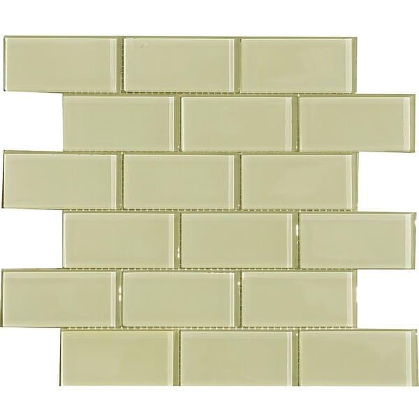 Vanilla Cream 2x4-inch Shiny Glass Tiles (Pack of 11)