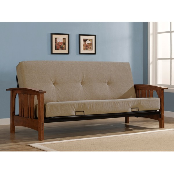 Wood Arm Putty Futon Sofa Set With Mattress Free