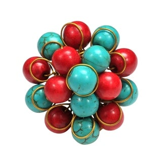 Handmade Cluster Turquoise-Synthetic Coral Organic Ring