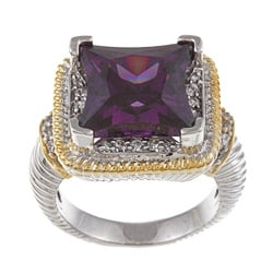 La Preciosa Two-tone Purple and White Cubic Zirconia Ring