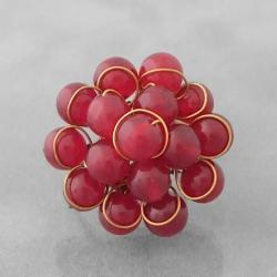 Brass Cherry Quartz Organic Cluster Ring (Thailand)