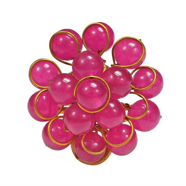Handmade Brass Dark Pink Quartz Cluster Organic Ring (Thailand)