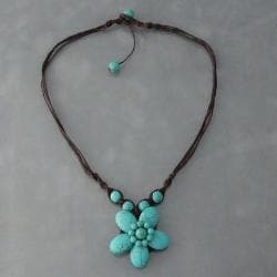 Handmade Cotton Rope Charming Reconstructed Turquoise Flower Necklace (Thailand)