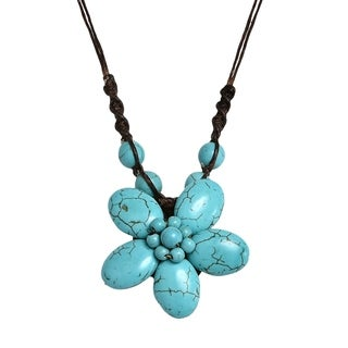 Handmade Cotton Rope Charming Reconstructed Turquoise Flower Necklace