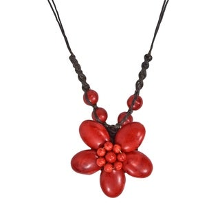 Cotton Rope Charming Red Coral Flower Necklace (Thailand)