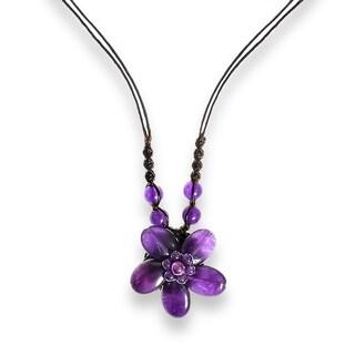 Handmade Charming Purple Amethyst Stone Flower Handmade Necklace (Thailand)