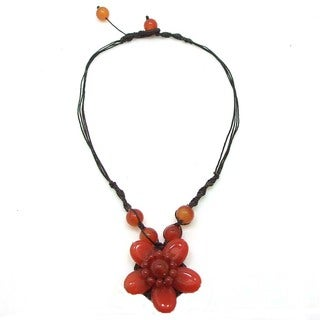 Cotton Rope Charming Orange Carnelian Flower Necklace (Thailand)