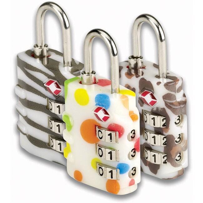 Belle Hop Leopard TSA Indicator 3-Dial Combo Locks (Set of 2)