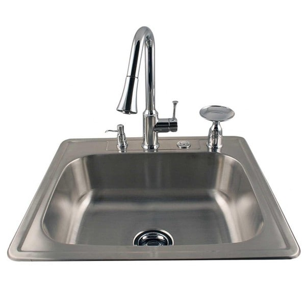 Drop-in Stainless Steel Sink and Chrome Faucet Combo Kit