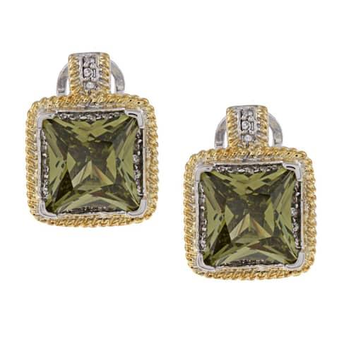 La Preciosa Two-tone Green and White Cubic Zirconia Earrings