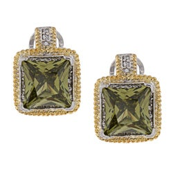 La Preciosa Two-tone Green and White Cubic Zirconia Earrings