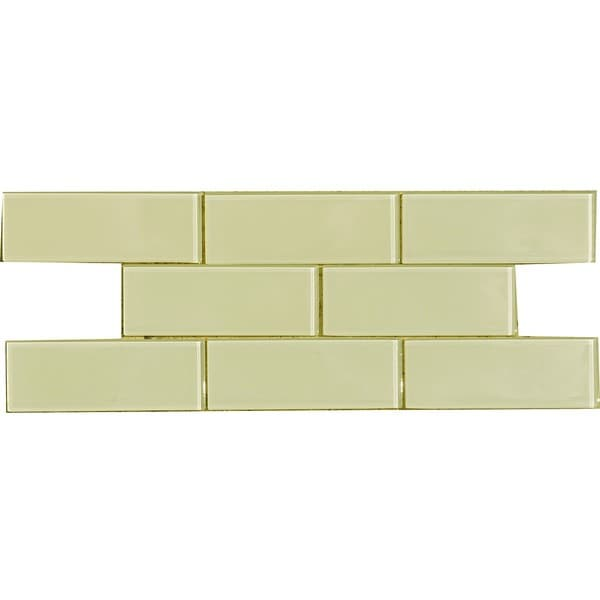 Vanilla Cream 3x8-inch Shiny Glass Tiles (Case of 67)