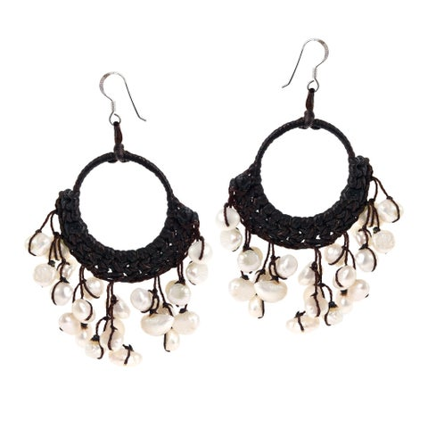 Handmade Cotton Modern Chandelier White Pearl Earrings (Thailand)