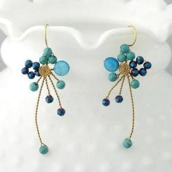 Handmade Brass Abstract Star Cluster Turquoise/ MOP/ Crystal Earrings (Thailand)