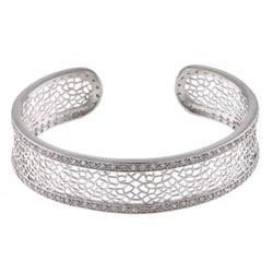 La Preciosa Silvertone Clear Cubic Zirconia Cuff Bracelet