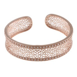 La Preciosa Rose Goldtone Clear Cubic Zirconia Cuff Bracelet