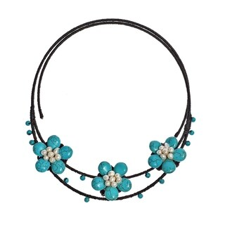Handmade Cotton Turquoise/ Pearl Flower Choker Necklace (Thailand)