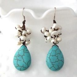 Turquoise and Pearl Dangle Teardrop Earrings (5-7 mm) (Thailand)