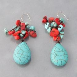 Turquoise and Coral Dangling Teardrop Earrings (Thailand)
